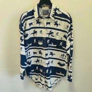 Vintage Quizz Men's Western Cowboy Print Long Sleeve Button Up Shirt Size Large